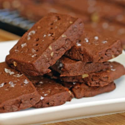 Chocolate Malted Pecan Shortbread Cookies