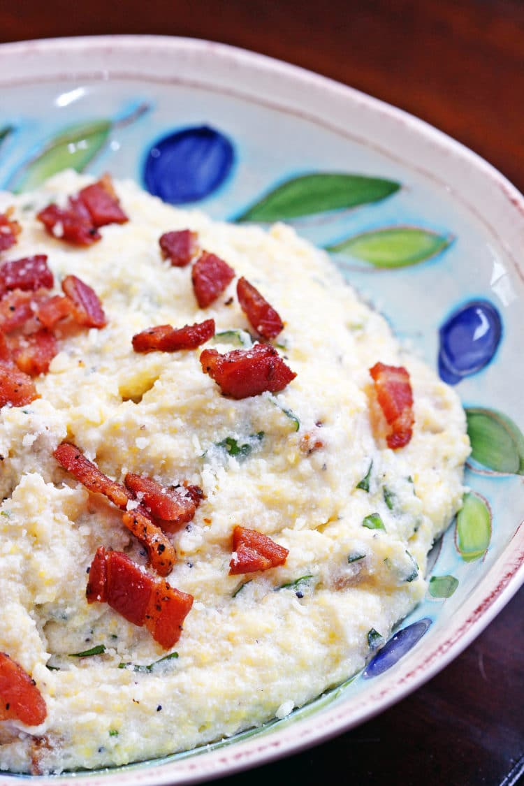 Polenta with Ricotta, Pancetta and Basil