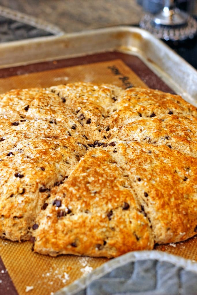 These Chocolate Chip Pecan Buttermilk Scones have a hint of cinnamon, use mini chocolate chips inside and crunchy pecans for that perfect breakfast bite. www.keviniscooking.com