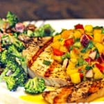 Mango Salsa on Grilled Swordfish
