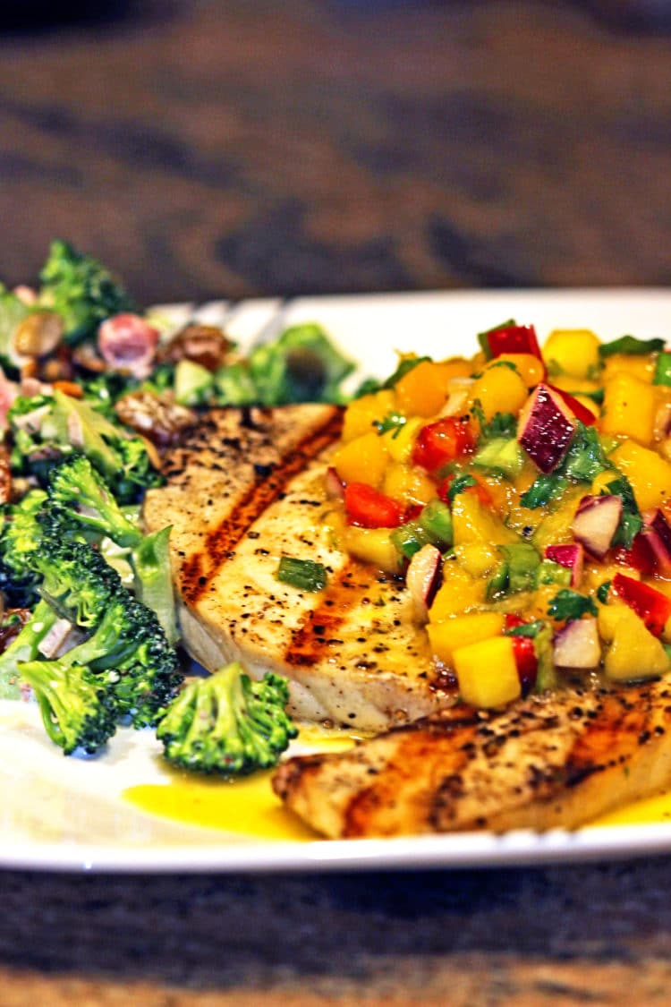 Mango salsa on grilled swordfish kevin is cooking for Fruit salsa for fish