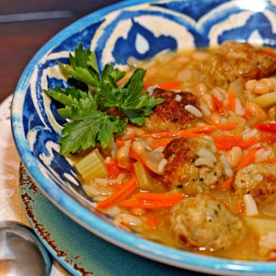 Pesto Chicken Meatball Soup
