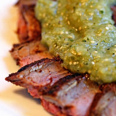 Chili Lime Rubbed Grilled Flank Steak with Roasted Tomatillo Salsa