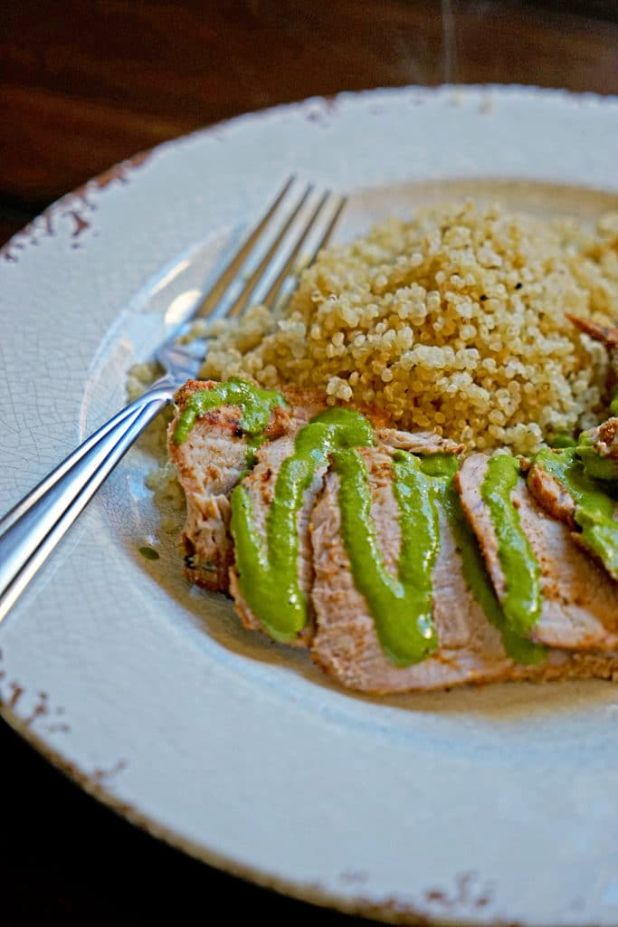 Grilled Pork Tenderloin with Blended Chimichurri Sauce1