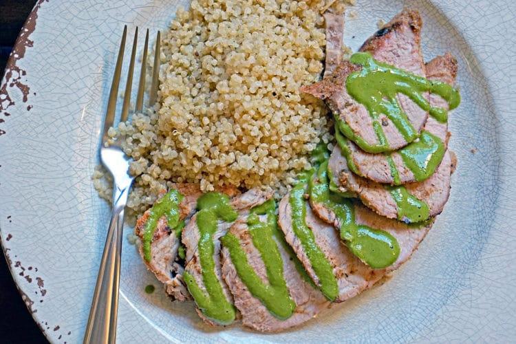 Grilled Pork Tenderloin With Blended Chimichurri Sauce2