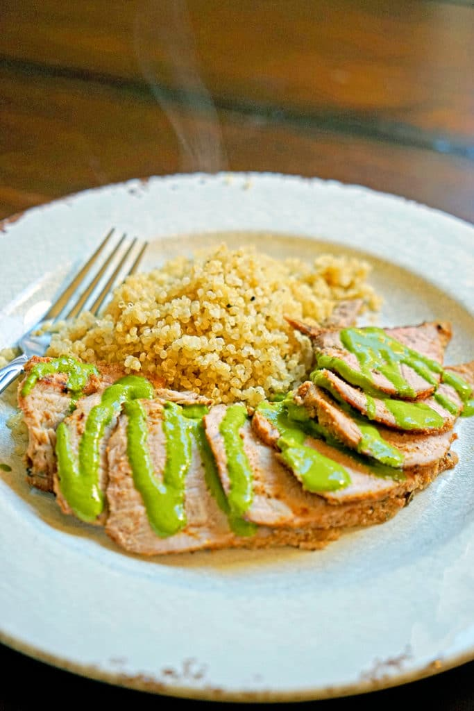 Grilled Pork Tenderloin with Blended Chimichurri Sauce6