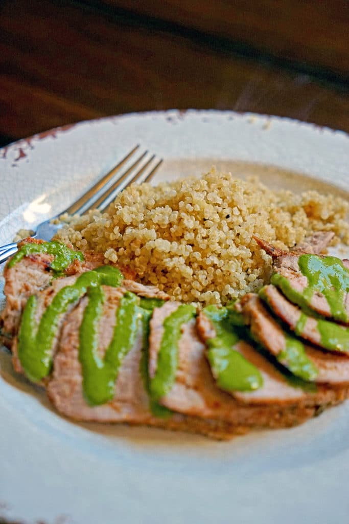 Grilled Pork Tenderloin with Blended Chimichurri Sauce7