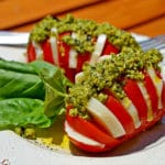 Hasselback Caprese Salad with Fresh Pesto