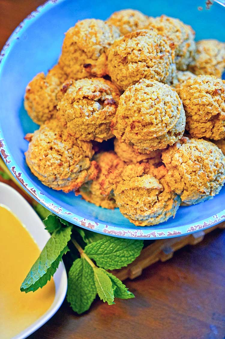 Baked Saffron Falafel with Orange Tahini Sauce. www.keviniscooking.com