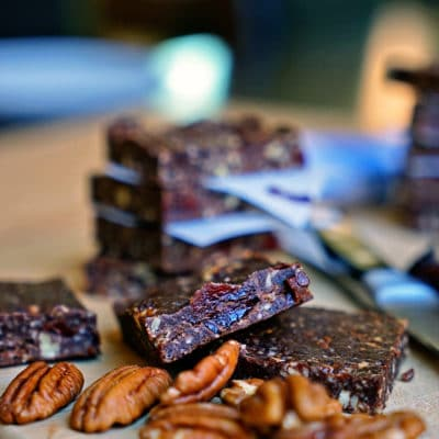 Chocolate Cherry Pecan Date Bars