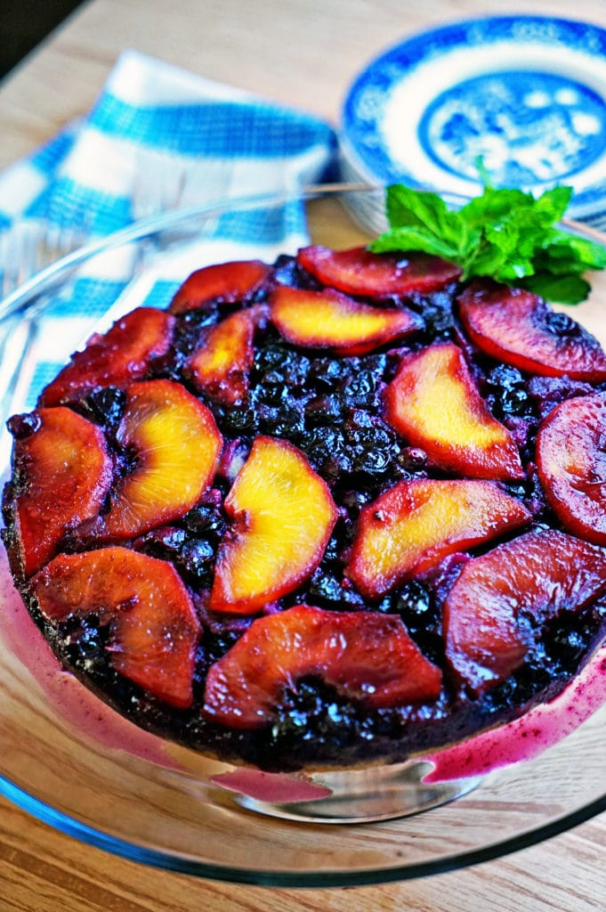 Blueberry Peach Upside-Down Cake1
