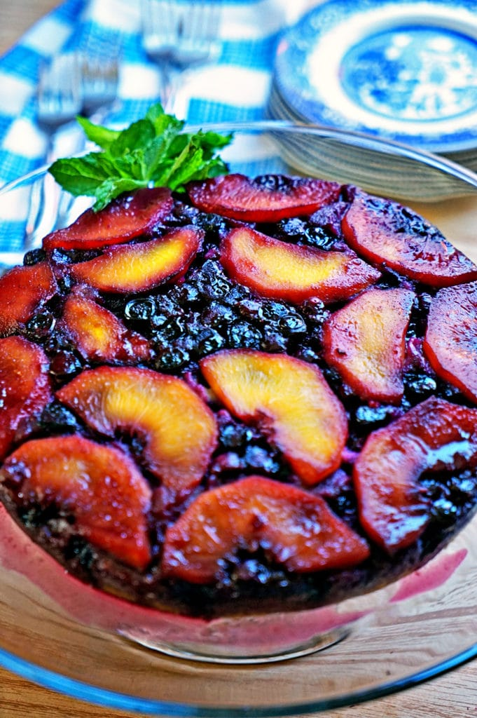 Blueberry Peach Upside-Down Cake10