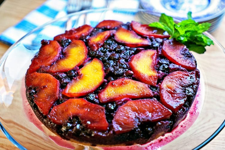 Blueberry Peach Upside-Down Cake2