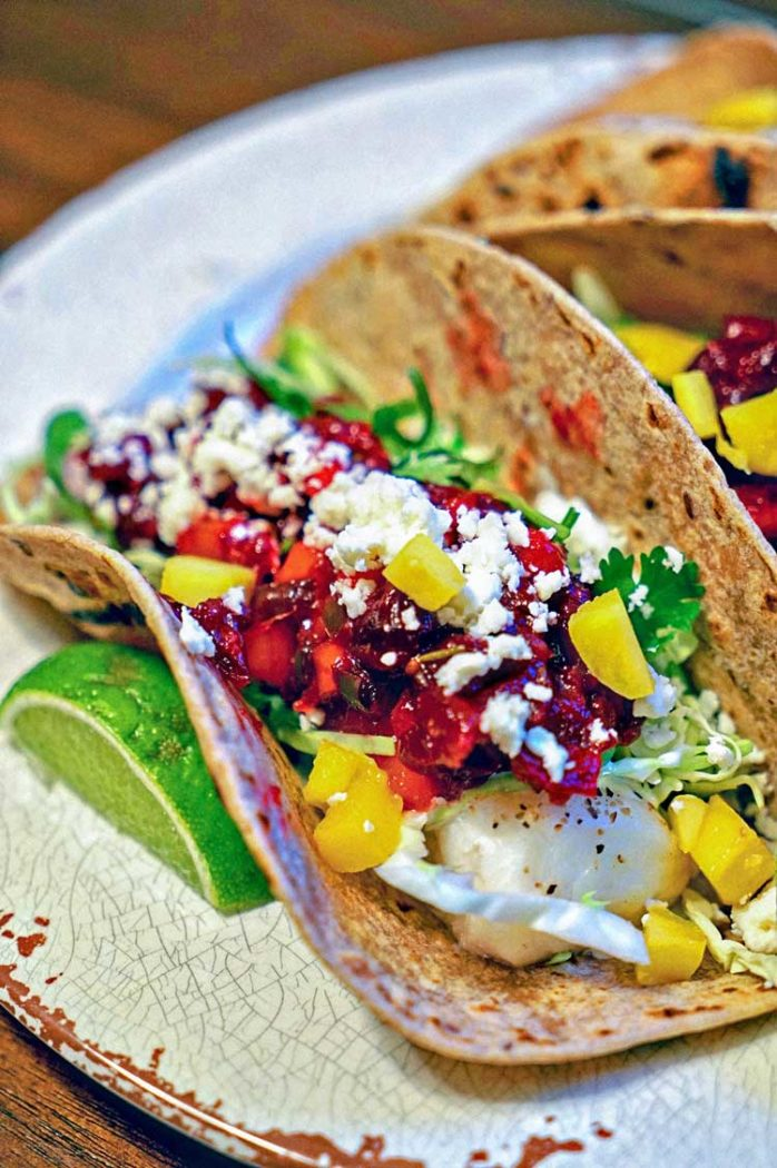 Grilled Fish Tacos wit Fruit Salsa