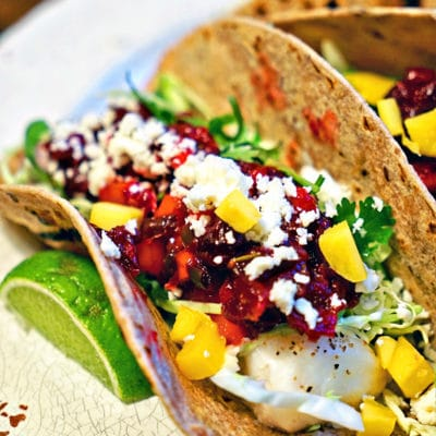Grilled Fish Tacos with Roasted Cranberry Mango Salsa
