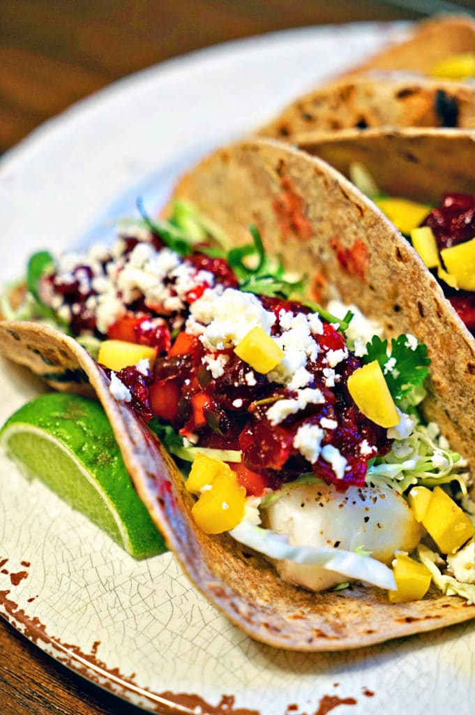 Grilled Fish Tacos with Roasted Cranberry Mango Salsa1