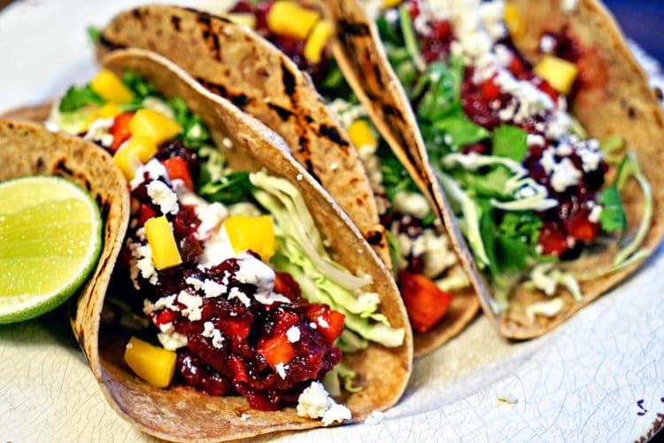 Grilled fish tacos with roasted cranberry mango salsa for Best grilled fish taco recipe