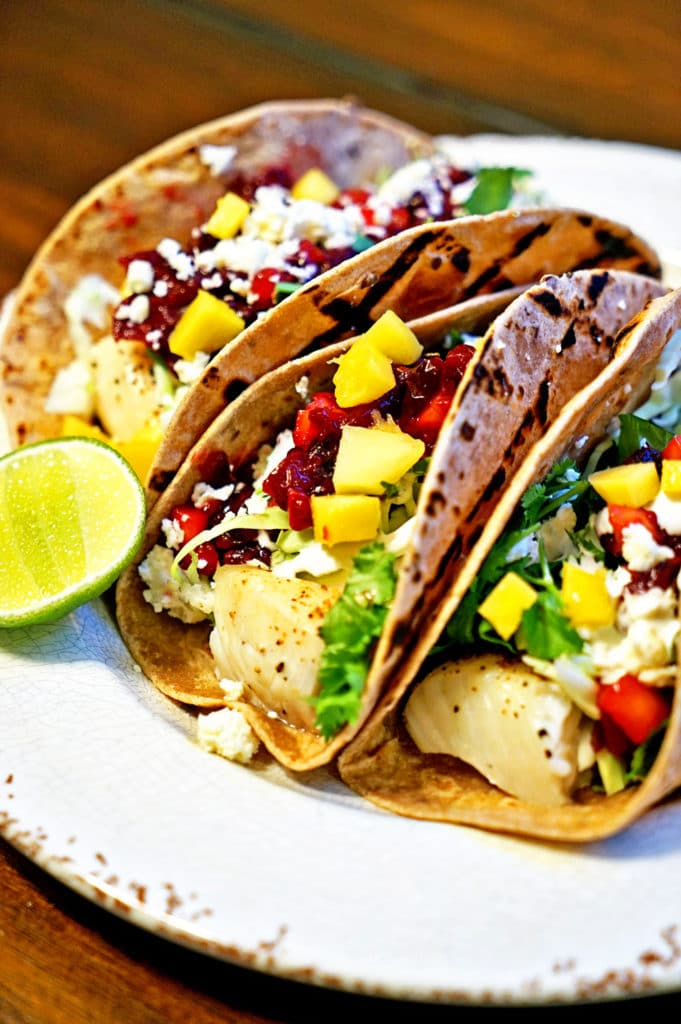Grilled Fish Tacos with Roasted Cranberry Mango Salsa5