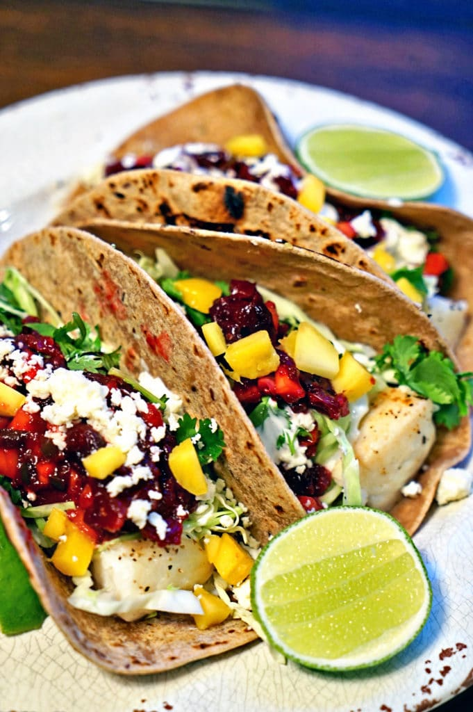 Grilled Fish Tacos with Roasted Cranberry Mango Salsa7