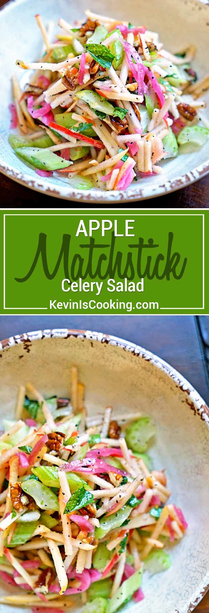 This Apple and Celery Salad comes together quickly with fresh, cold apples, celery, pecans, mint, cilantro and basil tossed in a light vinaigrette. So amazingly tasty!