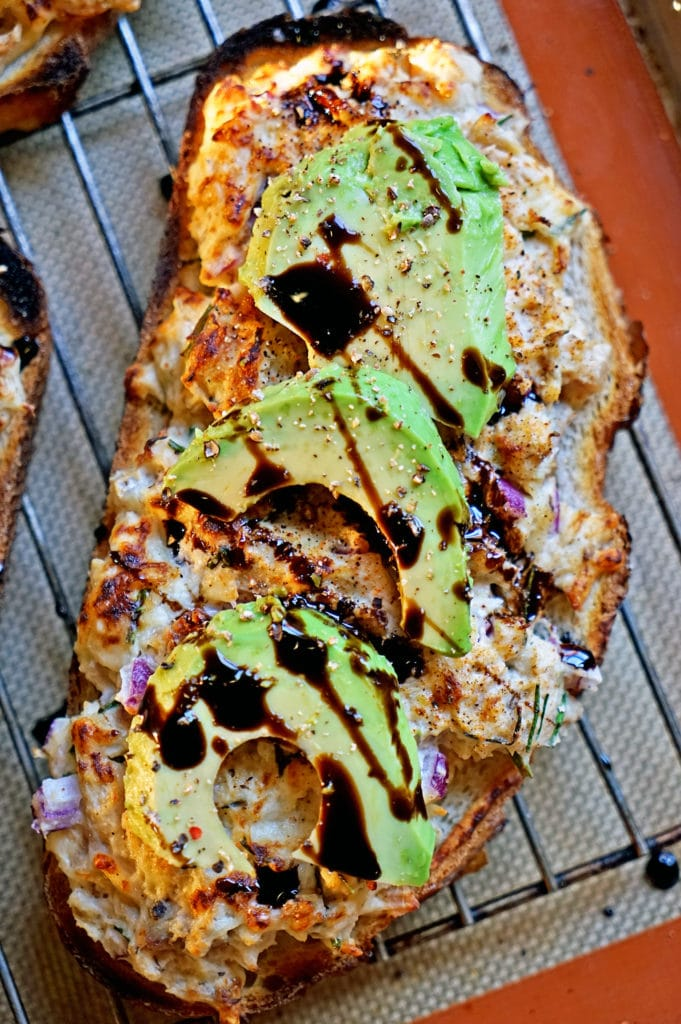 Open Faced Gruyere Chicken Melt with Avocado and Balsamic Syrup5