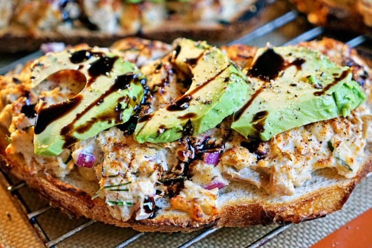 Open Faced Gruyere Chicken Melt with Avocado and Balsamic Syrup6