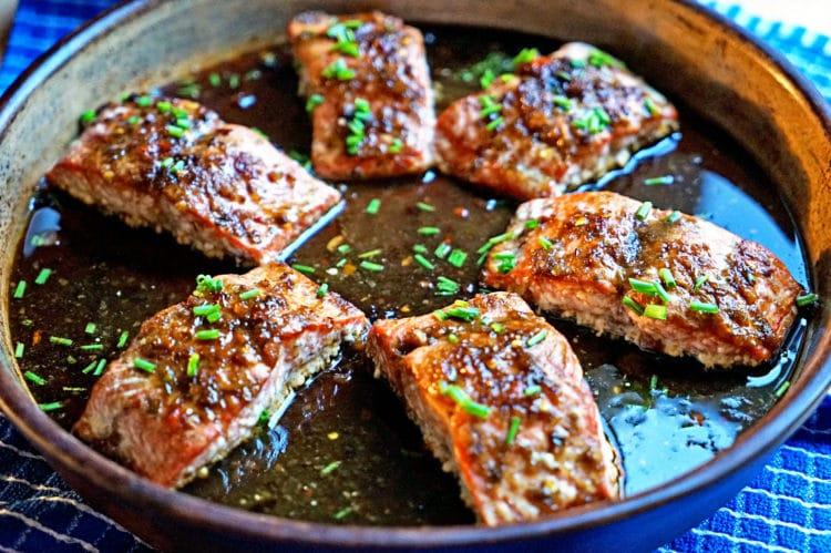 6 sweet glazed salmon filets in baking dish