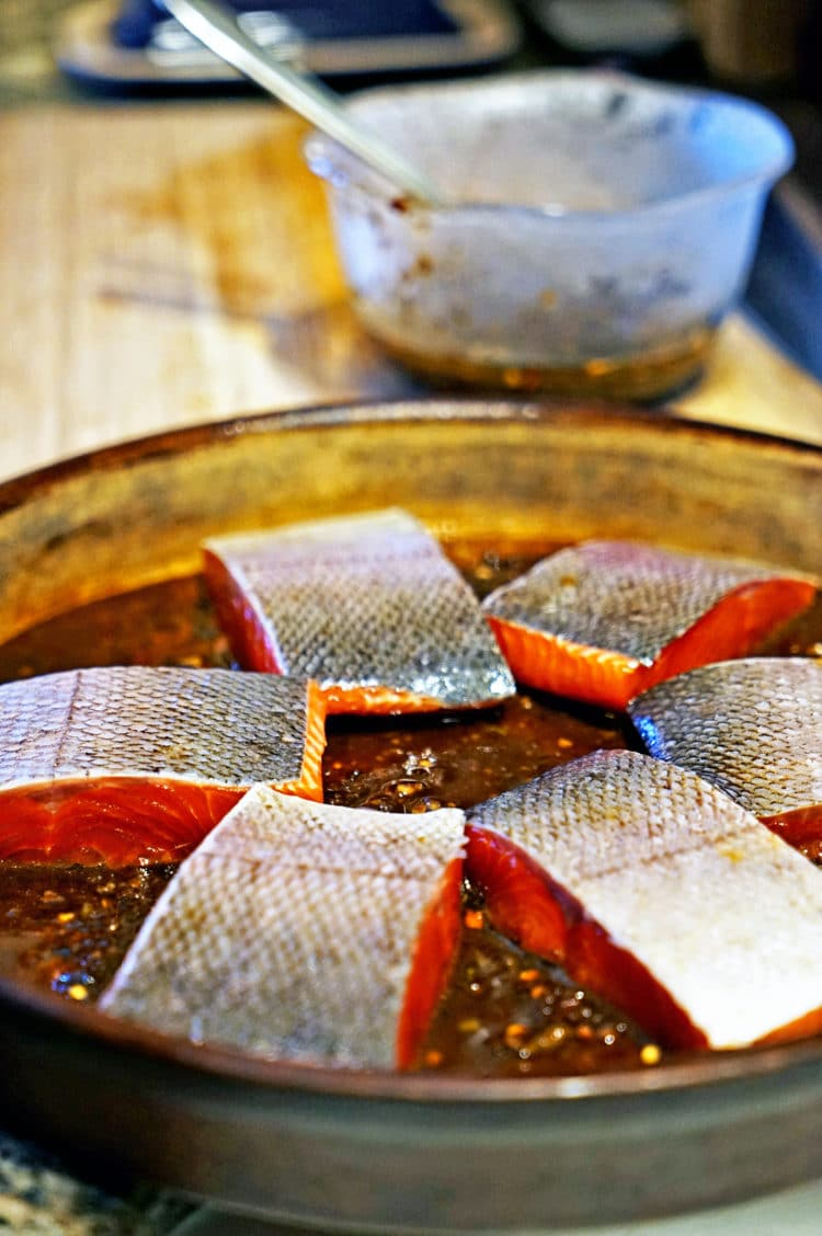 salmon filets skin side up in baking dish