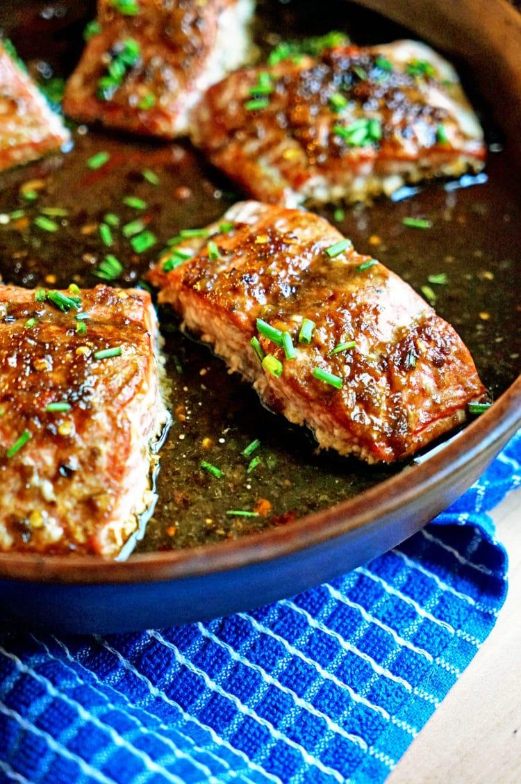 sweet glazed salmon filets