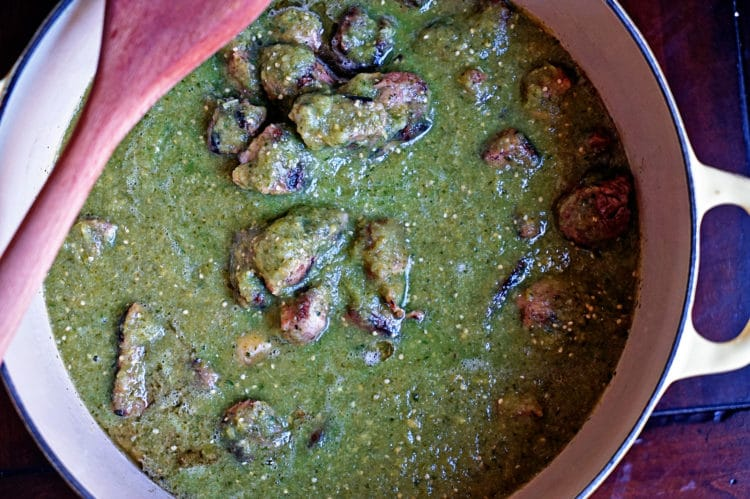 Green Chile And Tomatillo Pork Stew Recipe — Dishmaps