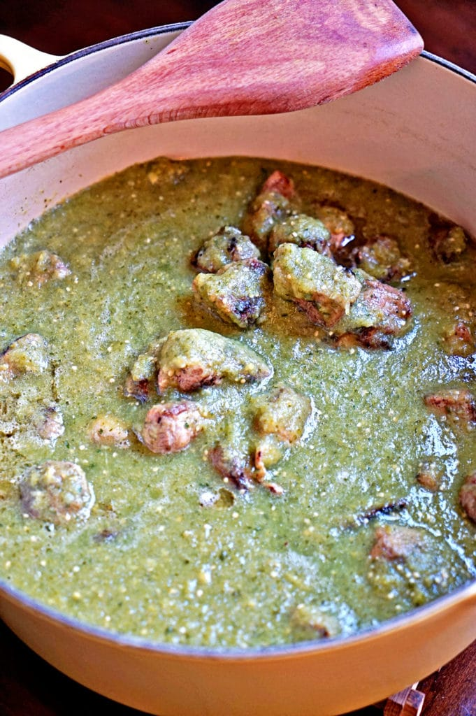Tomatillo Green Chile Pork Stew - keviniscooking.com