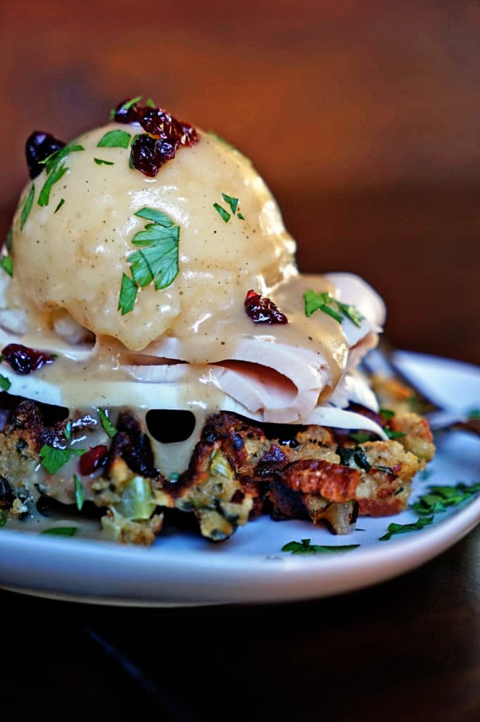 Cranberry Pecan Stuffed Waffles with Turkey Mashed Potatoes and Gravy9