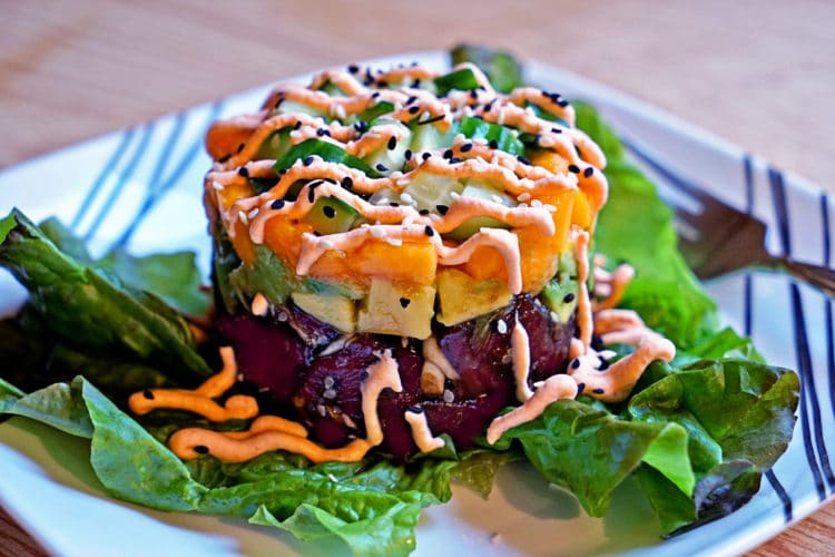 Fresh Ahi Poke Stack with Sriracha Whipped Cream2