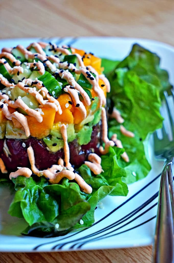 Fresh Ahi Poke Stack with Sriracha Whipped Cream7