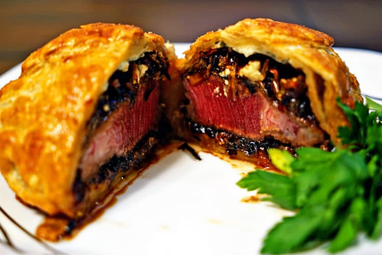 Individual Beef Wellingtons with Caramelized Onions and Bleu Cheese Rosemary Compound Butter1