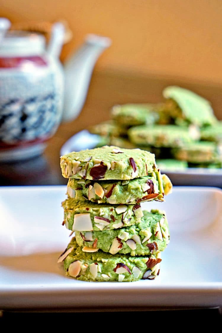Matcha Green Tea Almond Shortbread Cookies - keviniscooking.com