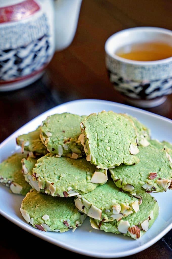 Matcha Green Tea Almond Shortbread Cookies - keviniscooking.com
