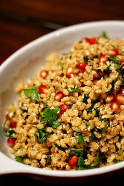 Steamed Barley with Pomegranate, Mint and Cilantro