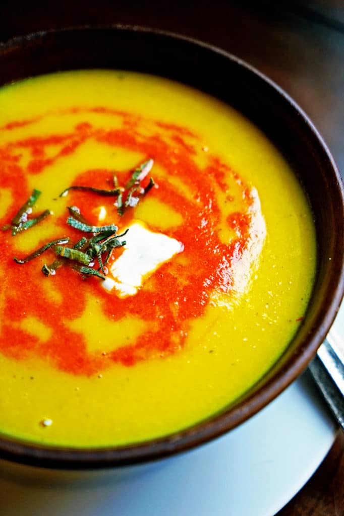 Butternut Squash Soup with Roasted Red Pepper and Sage1