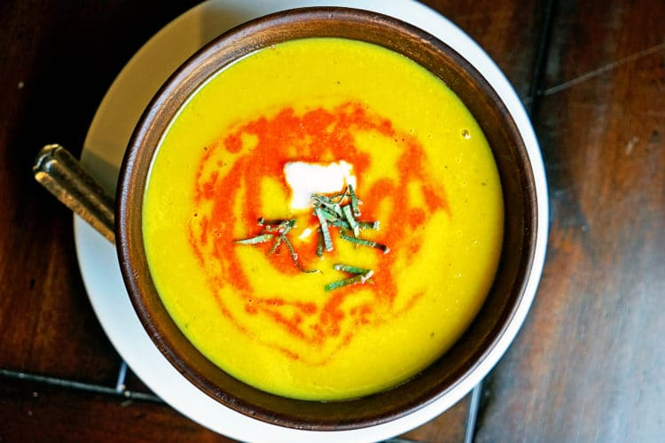 Butternut Squash Soup with Roasted Red Pepper Drizzle and Fried Sage ...