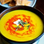 Butternut Squash Soup with Roasted Red Pepper Drizzle and Fried Sage