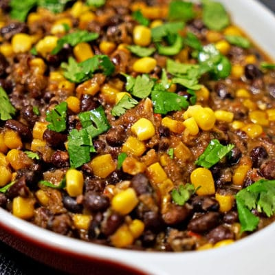 A dish iof frijoles con elote