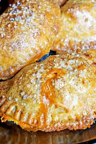 close up: Pumpkin Spice Cinnamon Apple Empanadas