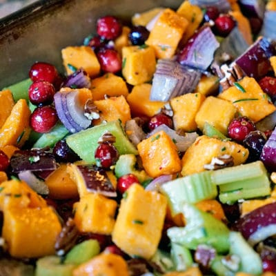 Roasted Butternut Squash, Cranberries and Celery with Pecans