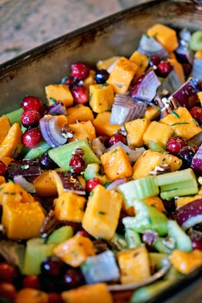 Roasted Butternut Squash, Cranberries and Celery with Pecans, Rosemary and Lime