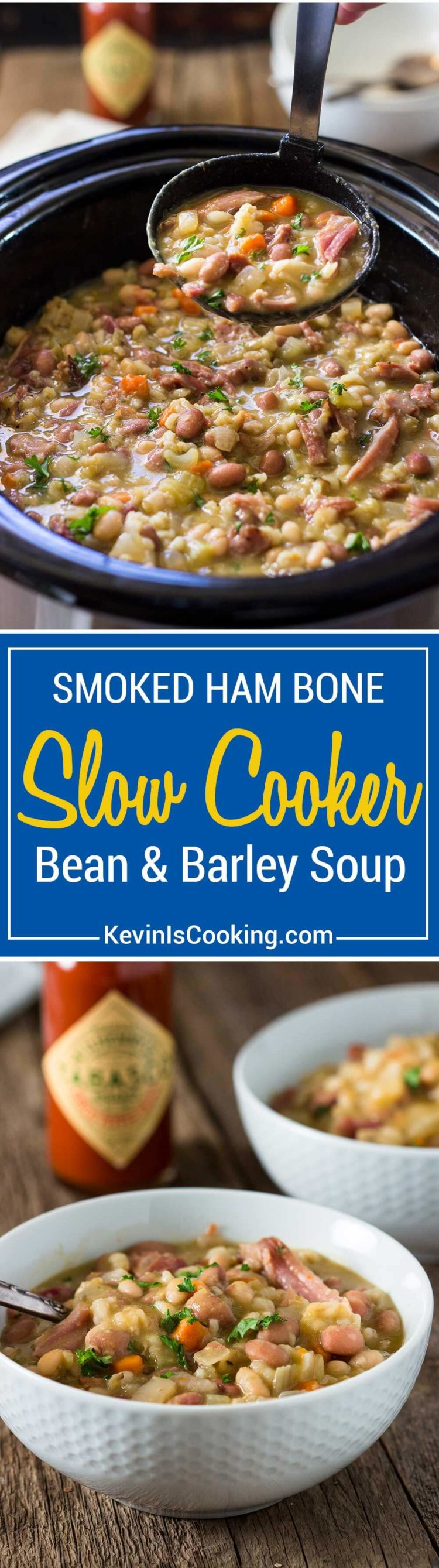 There's nothing like a Slow Cooker Ham Bone Bean Soup simmering away. Smoked ham bone with beans and barley, vegetables and Tabasco for that special touch.