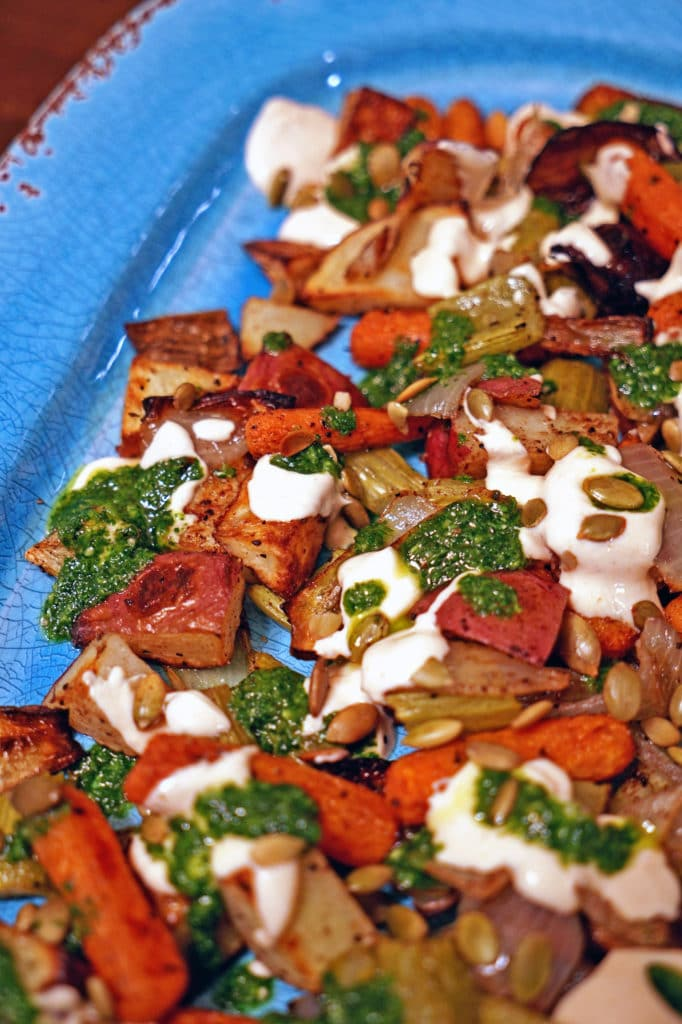 Roasted Vegetables with Chile Yogurt and Cilantro Mint Sauce1