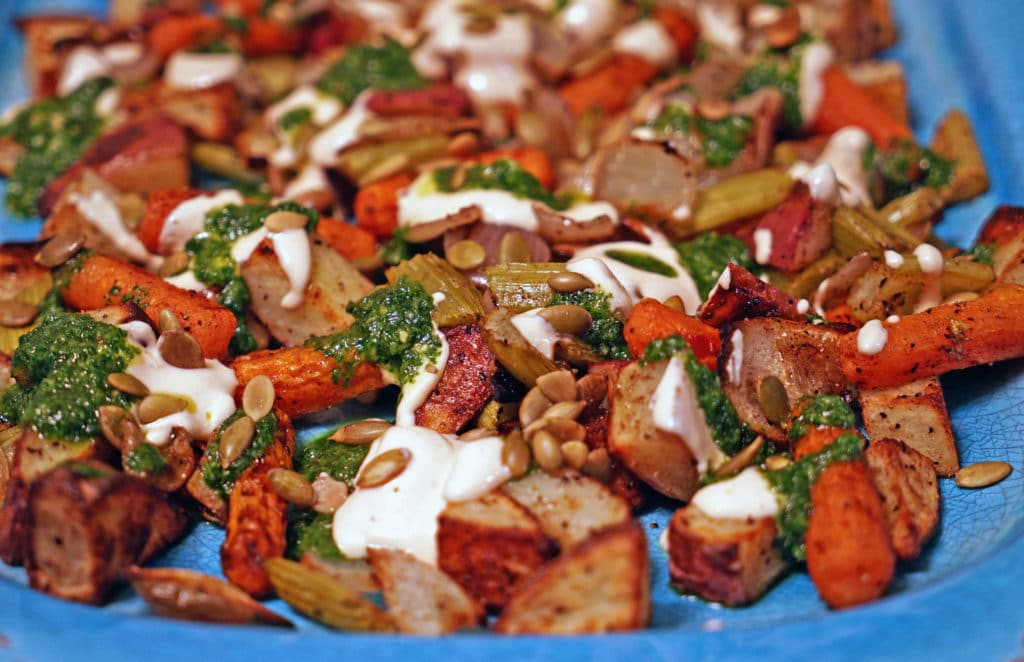 Roasted Vegetables with Chile Yogurt and Cilantro Mint Sauce2