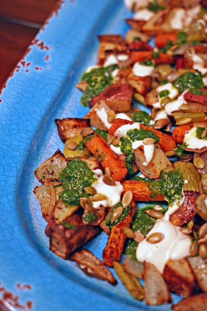 Roasted Vegetables with Chile Yogurt and Cilantro Mint Sauce5