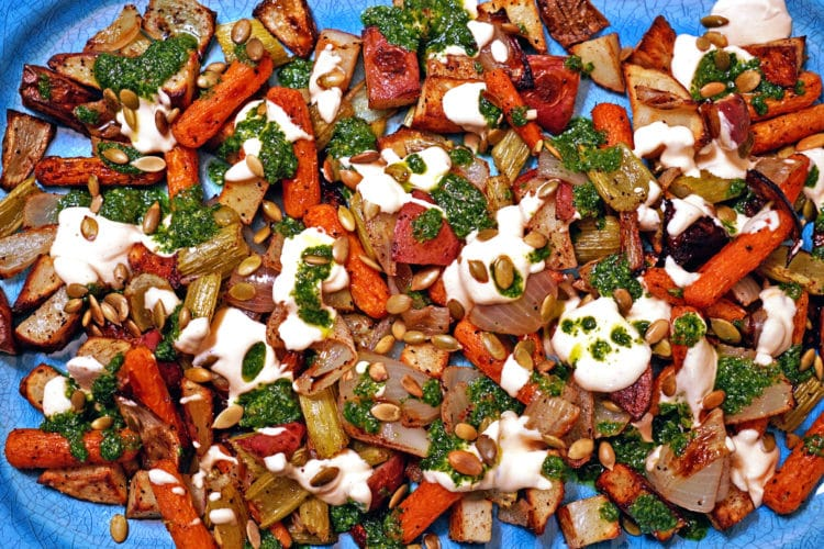 Roasted Vegetables with Chile Yogurt and Cilantro Mint Sauce6
